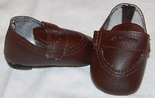"""DOLL Shoes, 69mm Brown Penny Loafers for SD* BJDs, Magic Attic, 18"""" Ann Estelle"""