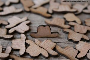100 Small Wood Cowboy Hats, Little Wooden Confetti Engraved Boots, wooden shapes
