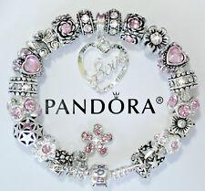 Authentic Pandora Charm Bracelet Heart Love Pink Flower European Charms