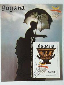 Guyana 1989 Barcelona 92 Olympics athletes souvenir  stamp sheet CTO
