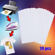 20Pcs T Shirt A4 Transfer Paper Iron On Heat Press Light Fabrics Inkjet Print US