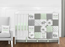 Mint Grey and White Watercolor Elephant Safari Baby Bumperless Crib Bedding Set