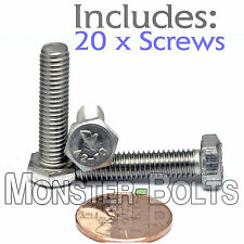 M6-1.0 x 25mm - Qty 20 - DIN 933 HEX CAP BOLT / Screw - Stainless Steel A2-70