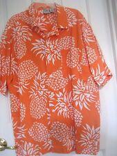 Mens M OP Orange HAWAIIAN SHIRT 100% Cotton Camp PINEAPPLES