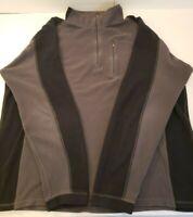 LL Bean Mens XL Tall 1/4 Zip Fleece Pullover Sweater Sweatshirt Gray Black