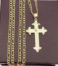 Religious 10k yellow Gold Jesus Cross Pendant Charm Figaro chain 20 INcH