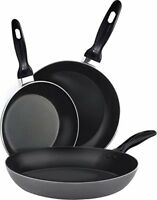 "Aluminum Nonstick Frying Pan 3 Piece Set 8"", 9.5"", 11"" Cookware Dishwasher Safe"