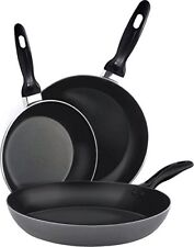 Aluminum Nonstick Frying Pan Set - 3 Piece Set 8 x 9.5 x 11 Inch Utopia Kitchen