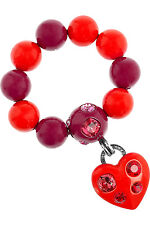 Lanvin Raspberry and Red Swarovski Crystal Heart Charm Bracelet New in Box