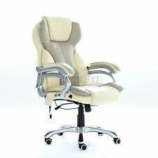 FoxHunter Luxury 6 Point Massage Office Computer Chair Reclining MC8074 Cream