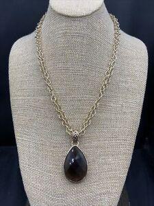 Barse Smoky Quartz Teardrop Necklace- Bronze- New With Tags