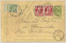 RARE ENTIER BELGE TARIF EXPRESS BRUSSEL pour BURDINNE 1911 COVER BELGIUM  L471