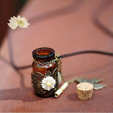 Wishing Bottle Necklace Flower Butterfly Pendant Leather Long Sweater Chain Gift