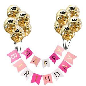 Balloon Set Happy Birthday Banner Golden Confetti Balloon Birthday Party Decor