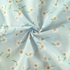 Polycotton Fabric Polka Dot Floating Daisies Flowers Floral Spots Dots