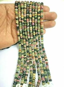 AAA+100% Natural Gemstone Tourmaline Wheel Beads Handmade 13 Inch 1 Strand E98