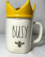 """Rae Dunn ""Busy Bee "" w Crown Top Mug New!"