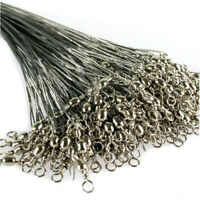 60 Pcs 15cm 20cm 25cm Fishing Line Steel Wire Leader With Swivel Fishing Tackle