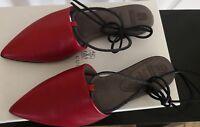 NWT Brunello Cucinelli 895$ 39.5EU(9.5B US) Red Leather/Monili Laces Mule Flat