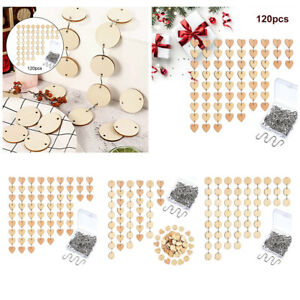 120x Unfinished DIY Record Wood Chips Rings Christmas Home Decoration Craft