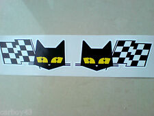 SEV MARCHAL Handed Cat & Flag Retro Vintage Car Stickers Decals 2 off 90mm each