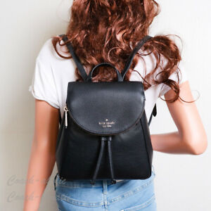 NWT Kate Spade Leila Medium Flap Leather Backpack in Black