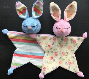 CROCHET BABY DOUDOU   Handmade Bunny Security Blanket   Soft Baby Comforter