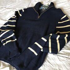 Polo Ralph Lauren RRL Men Half Zip Wool Sweater Hoody Collar Size XXL Blue White