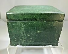 Antique Chinese Qing Dynasty 1880's Green/Jade Stone Jewelry Box W/Certificate