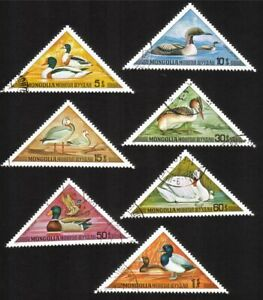 Aquatic Birds: Ducks, Geese, Swans, Etc. Cplt Set of 7 Diff. (Triangle Shaped)