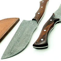 Damascus Multi-layers Chef Cleaver Kitchen Knife With Leather Sheath Full Tang