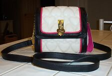 NWT BETSEY JOHNSON  MINI CROSSBODY  *BE MINE BONE/BLK BLACK* PUFFY HEART DESIGN