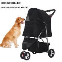 Black 3 Wheels Pet Stroller Cat Dog Cage Jogging Stroller Travel Folding Carrier