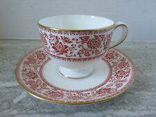 Old Vintage Wedgwood Red Damask Porcelain Cup & Saucer