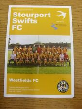25/08/2015 Stourport Swifts v Westfields  . Footy Progs/Bobfrankandelvis, experi