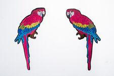 Parrot Embroidered Craft Bouquet Twin Bird Needlework Floral Decor Sew Iron