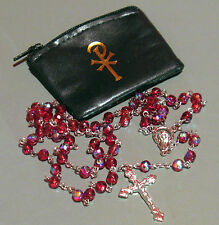Red Glass Bead 6MM Aurora Borealis Rosary + Black Pax Vinyl Zip Case