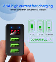 3 Port Fast Quick Charging Wall Charger LED QC 3.0 3-USB Hub Power Adapter EU/US