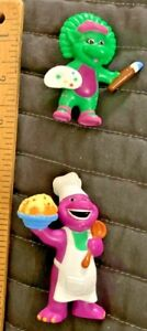"Vintage 1998 Hasbro Lyons Baking Barney & Painting Baby Bop 3"" PVC Figures Rare"