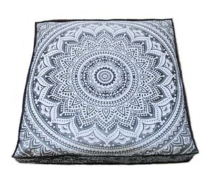"""Indian Cotton Mandala Pouf Handmade Seating Square Cushion Cover 35""""X35"""" Inches"""