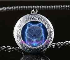 Night GHOST WOLF Photo Cabochon Glass Tibet Silver Locket Pendant Necklace