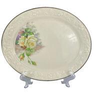 Homer Laughlin Eggshell Theme 11″ Oval Serving Platter White Yellow Roses