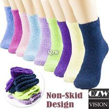 1-12 Pairs Womens Winter Super Soft Cozy Fuzzy Slipper Non Skid Crew Socks 9-11
