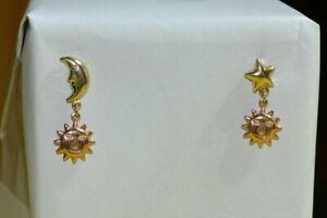 14k yellow rose gold Asymmetrical celestial sun moon star earrings drop 3 grams