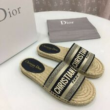Christian Dior Granville Oblique B&W Embroidered Cotton Slides Size US 9
