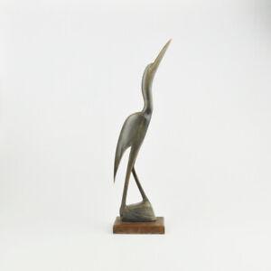 Kranich - Horn - Vogel - Reiher - Beinarbeit - Figur - geschnitzt - Vintage