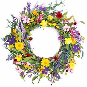 CEWOR 20 Inches Summer Front Door Wreath Artificial Lavender Daisy Flower Wreath