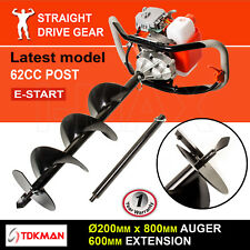 62CC TDKMAN Petrol Post Hole Digger Earth Auger 200mm Drill 600mm Ex Fence Borer