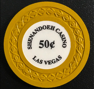 """.50 SHENANDOEH SPELLED WITH AN """"EH""""  """"BORLAND"""" CASINO POKER CHIP  NEVADA GD"""