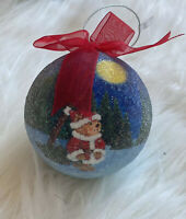 Vtg Christmas ornament 2002 Dillards Sugar Coated Ball Bear Santa Suit